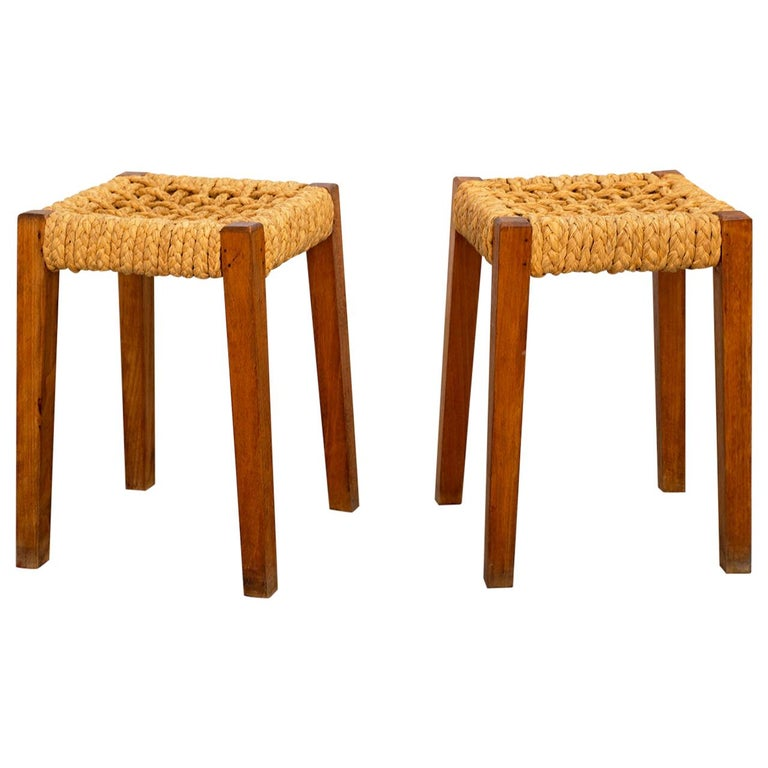 Pair of Stools by Audoux Minet For Sale