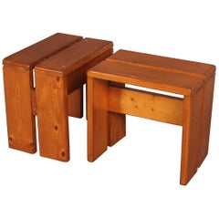 Pair of Stools by Charlotte Perriand for Les Arcs