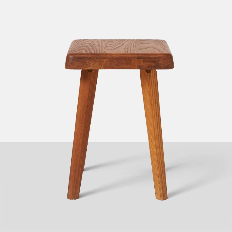 Pair of Stools by Pierre Chapo Model S01A In Excellent Condition For Sale In San Francisco, CA