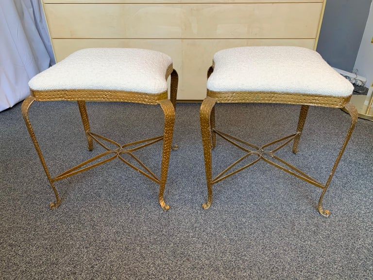 Hammered Pair of Stools Gold Leaf by Pier Luigi Colli, Italy, 1950s For Sale