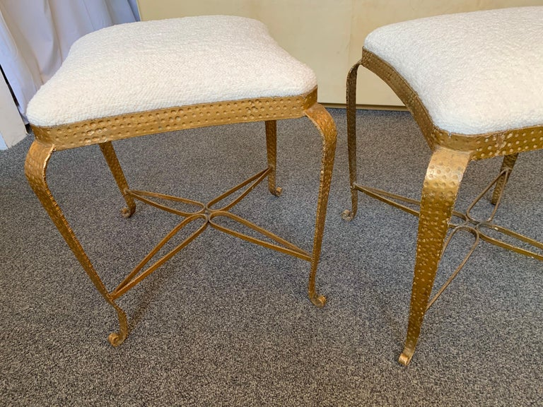 Pair of Stools Gold Leaf by Pier Luigi Colli, Italy, 1950s In Good Condition For Sale In SAINT-OUEN, FR