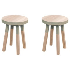 Pair of Stools in Ash Wood, Design by Eric Gizard, 100% Made in France