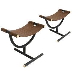 Paar Stühle in geflochtenem Leder Hocker Designed by Gucci in 1970er Jahren inspiriert