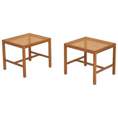 Pair of Stools in Oak and French Cane by Ditte Heath