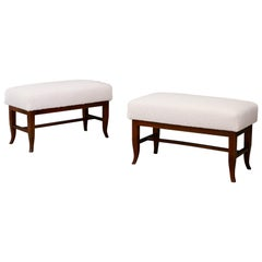 Pair of Stools in Style Gio Ponti in White Boucle Fabric and Walnut, 1960s