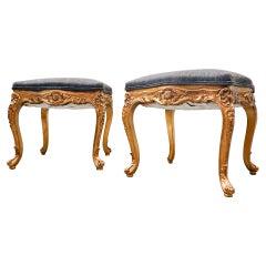 Pair of Stools, Louis XV Style, Belgium