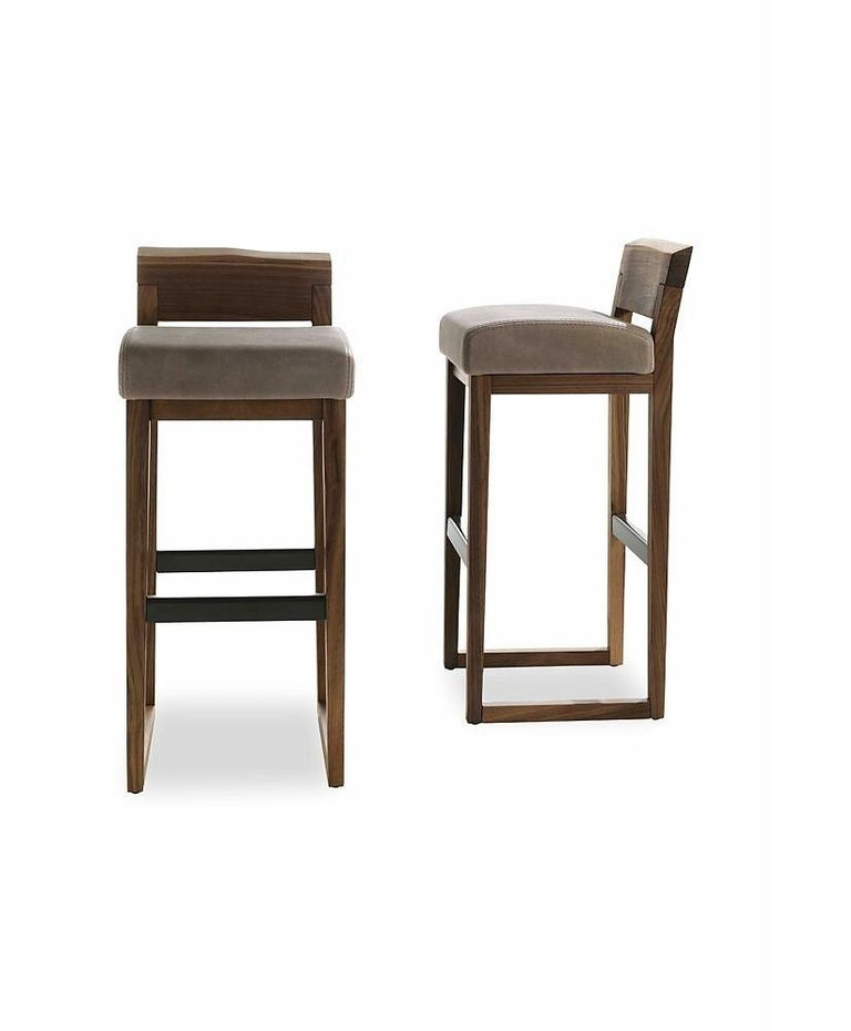 Modern Pair of Stools Made from Solid American Walnut with Padded Seat in Leather For Sale