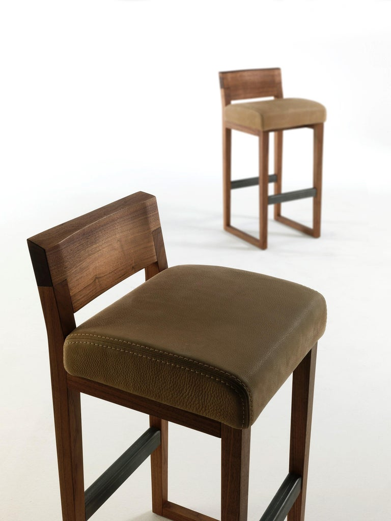 Contemporary Pair of Stools Made from Solid American Walnut with Padded Seat in Leather For Sale