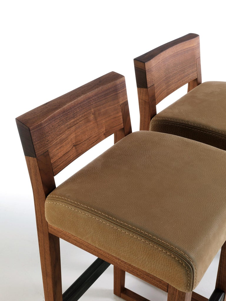 Steel Pair of Stools Made from Solid American Walnut with Padded Seat in Leather For Sale