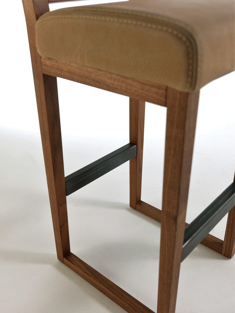 Pair of Stools Made from Solid American Walnut with Padded Seat in Leather For Sale 1