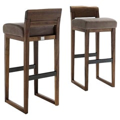 Pair of Stools Made from Solid American Walnut with Padded Seat in Leather