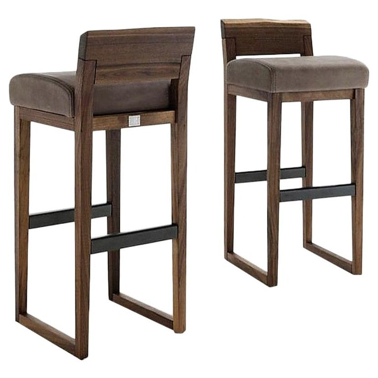 Pair of Stools Made from Solid American Walnut with Padded Seat in Leather For Sale