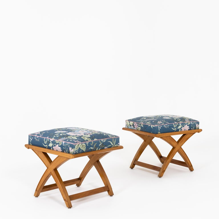 Wood Pair of Stools, Mid-20th Century For Sale