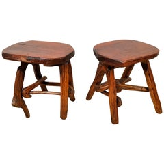 Pair of Stools or Side Tables Primitive Rustic Brutalist, France 1960s