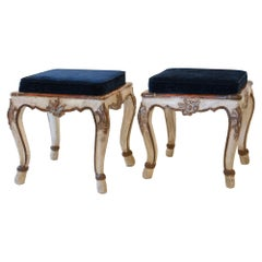 Pair of Stools, South Germany Bavaria 1750 Original Painting, New Upholstery
