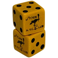 Pair of Stork Club NYC Bakelite Dice, Gambled with by Eva Gabor