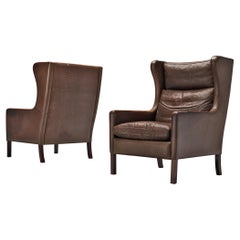 Pair of Stouby Denmark Lounge Chairs in Dark Brown Leather