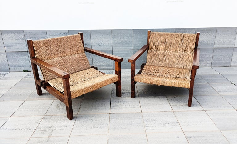 Pair of Straw and Oak Low Armchairs, Spain, 1950s For Sale 5