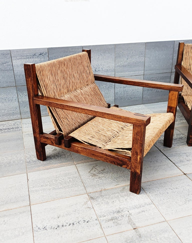 Pair of Straw and Oak Low Armchairs, Spain, 1950s For Sale 6