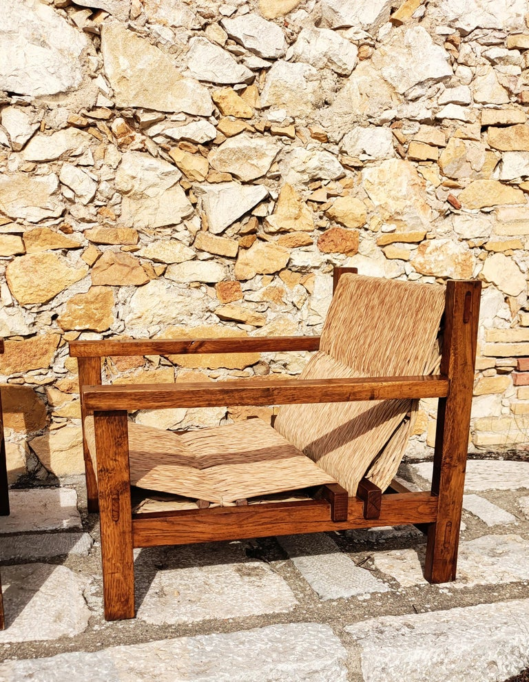 Pair of Straw and Oak Low Armchairs, Spain, 1950s For Sale 11