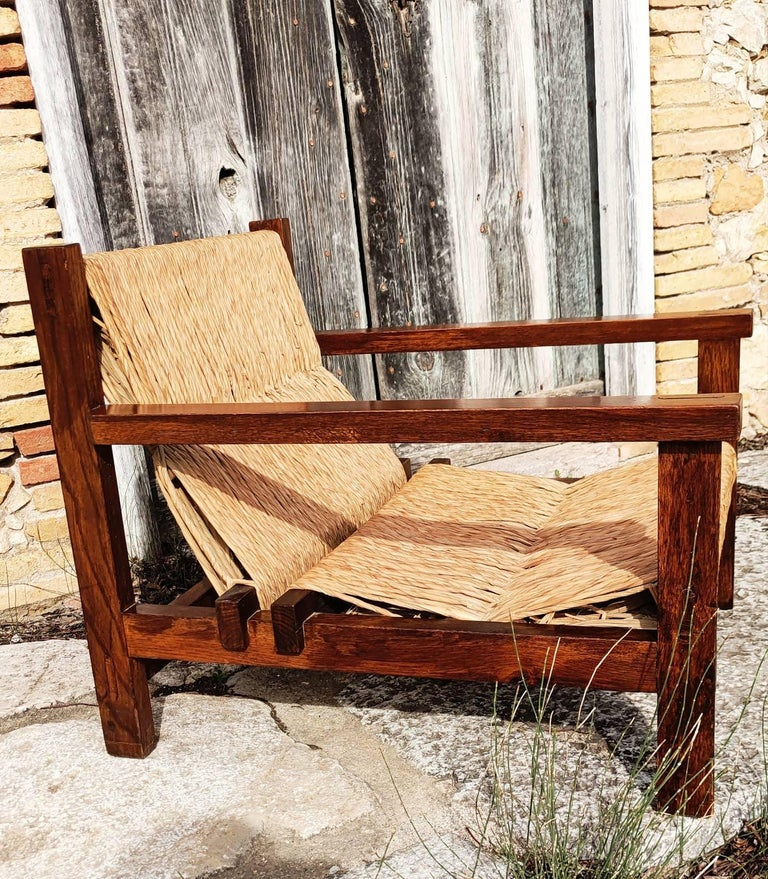 Spanish Pair of Straw and Oak Low Armchairs, Spain, 1950s For Sale