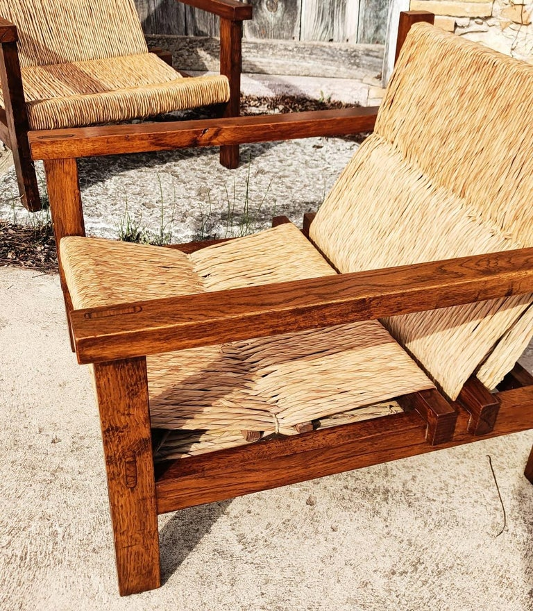 Pair of Straw and Oak Low Armchairs, Spain, 1950s For Sale 1