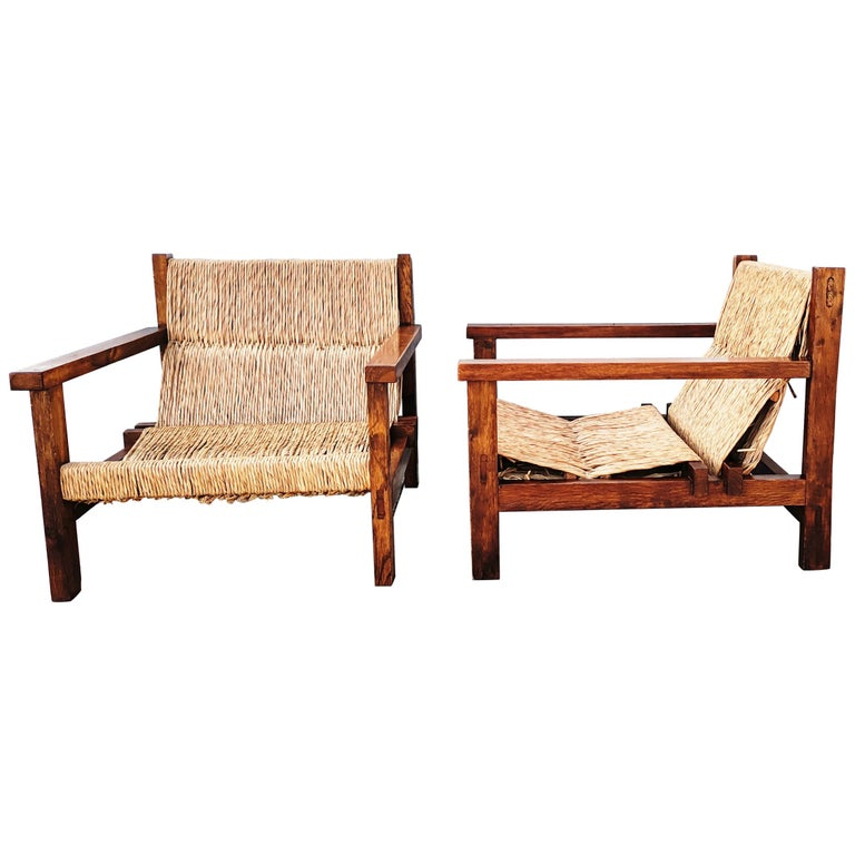 Pair of Straw and Oak Low Armchairs, Spain, 1950s For Sale