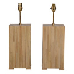 Pair of Straw Marquetry Lamps