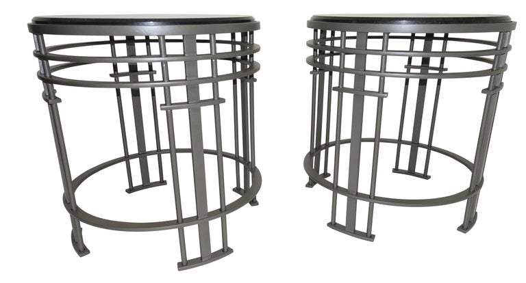 Steel Pair of Streamline Modern Side Tables with Granite, American, Mid-20th Century For Sale