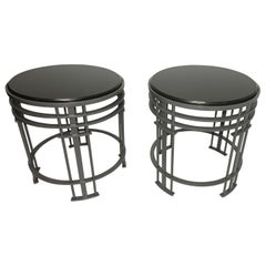 Pair of Streamline Modern Side Tables with Granite, American, Mid-20th Century