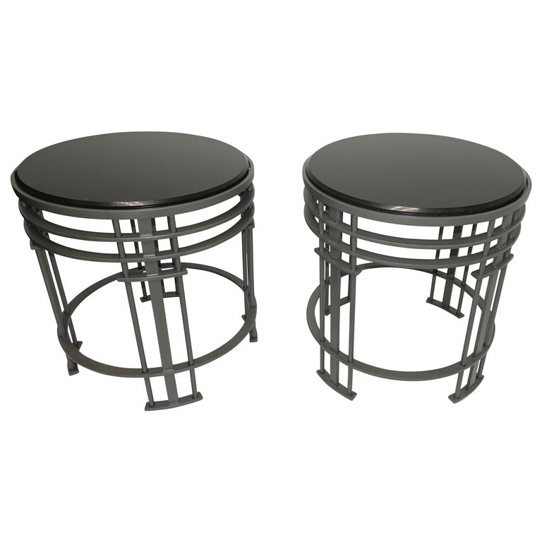 Pair of Streamline Modern Side Tables with Granite, American, Mid-20th Century For Sale