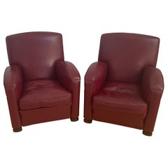"""Pair of Striking """"Tabarin"""" Chairs in Red Bordeaux Leather by Poltrona Frau"""