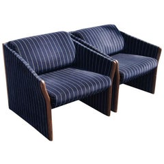 Pair of Striped Brayton Lounge Chairs
