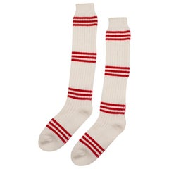 Pair of Striped Cashmere Tube Socks by Saved, New York