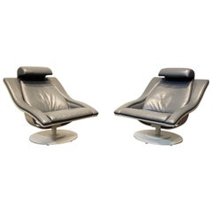 Pair of Structural Mid-Century Modern Leather Swivel Lounge Chairs