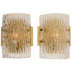 Pair of Structured Ice Glass Wall Sconces by Kalmar, 1960