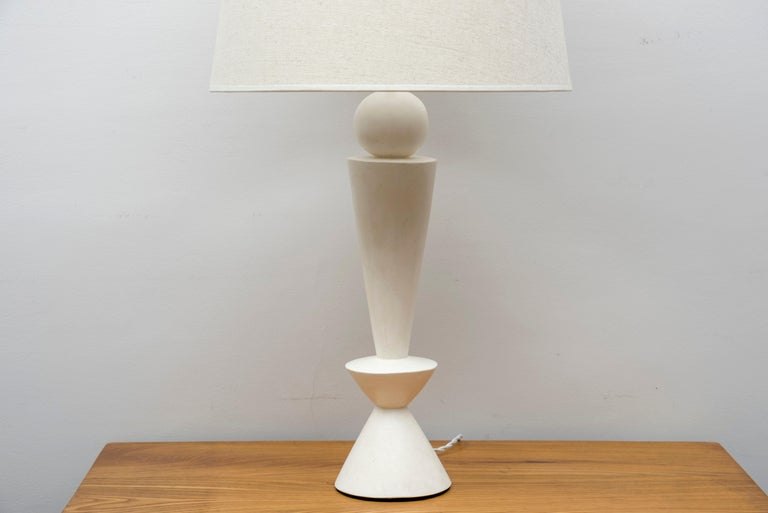 A pair of stuccoed plaster lamps, inspired by Jean-Michel Frank Model: DIabolo France, contemporary creation.  Dimensions: Height total: 79.5 cm (31.1 inches) Height plaster foot: 47.5 cm (18.5 inches) Diameter 42 cm (16.5 inches).