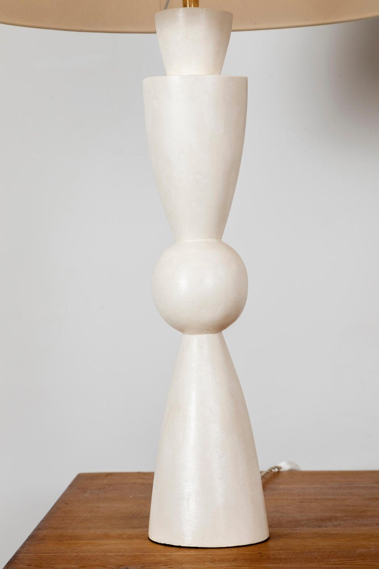 French Pair of Stuccoed Plaster Lamps Inspired by Jean-Michel Frank For Sale