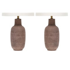 Pair of Studded Ceramic Table Lamps by Design Technics