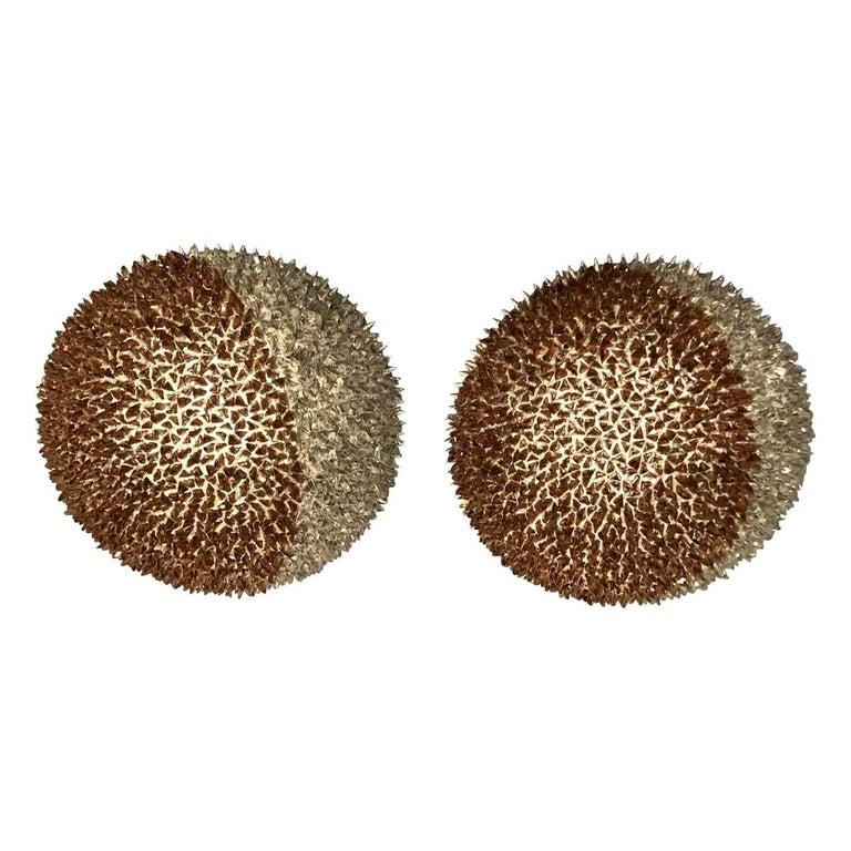 Pair of Studded Sphere Sconces by Ernest de la Torre For Sale