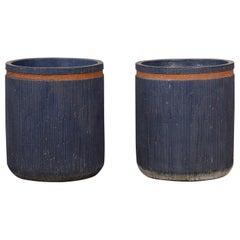 Pair of Studio Ceramic Planters with Striated Pattern
