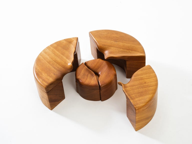 Organic Modern Pair of Studio Craft Solid Wood Nesting Boxes with Sculptural Lids, circa 1980 For Sale