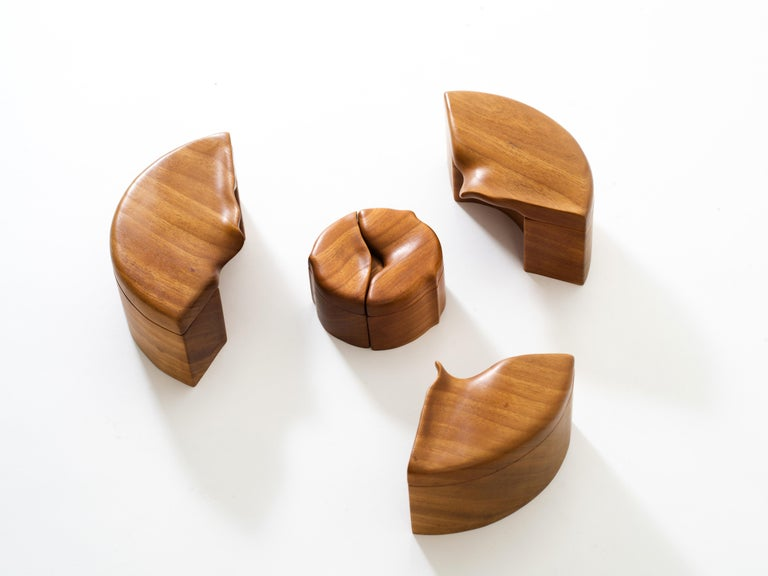 Canadian Pair of Studio Craft Solid Wood Nesting Boxes with Sculptural Lids, circa 1980 For Sale