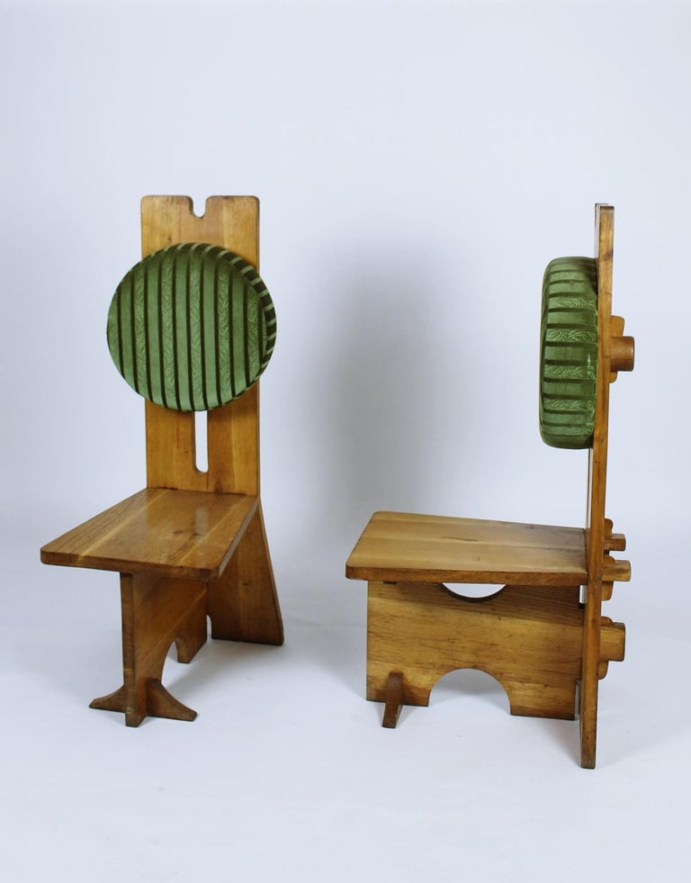 Rustic Pair of Studio Crafted Oak High Back Chairs Hungary, 1970s For Sale
