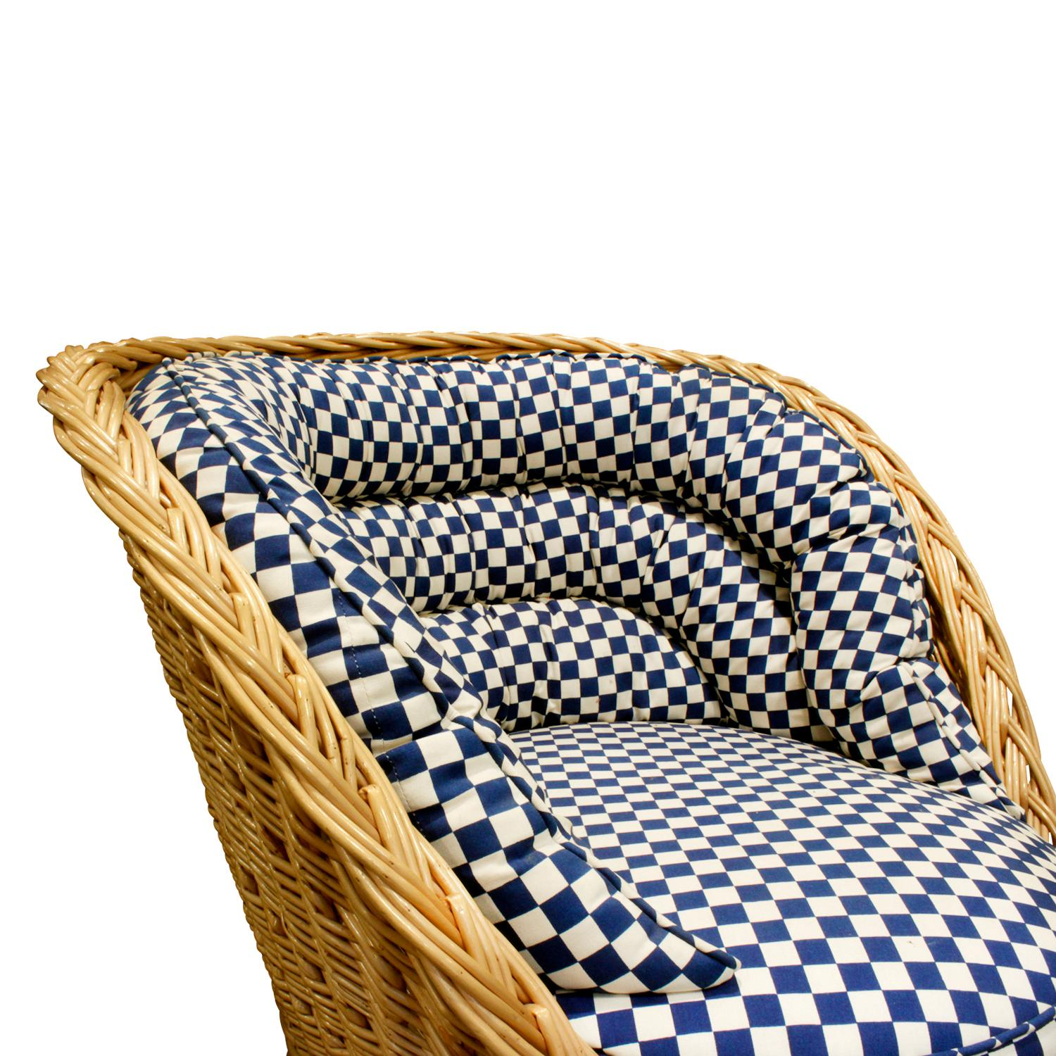 Fine Pair Of Studio Made Woven Wicker Lounge Chairs 1970S Ocoug Best Dining Table And Chair Ideas Images Ocougorg