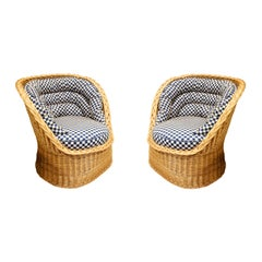 Pair of Studio Made Woven Wicker Lounge Chairs, 1970s