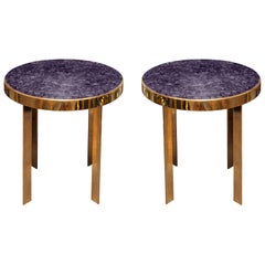 Pair of Studio Maison Nurita Amethyst and Brass Tables