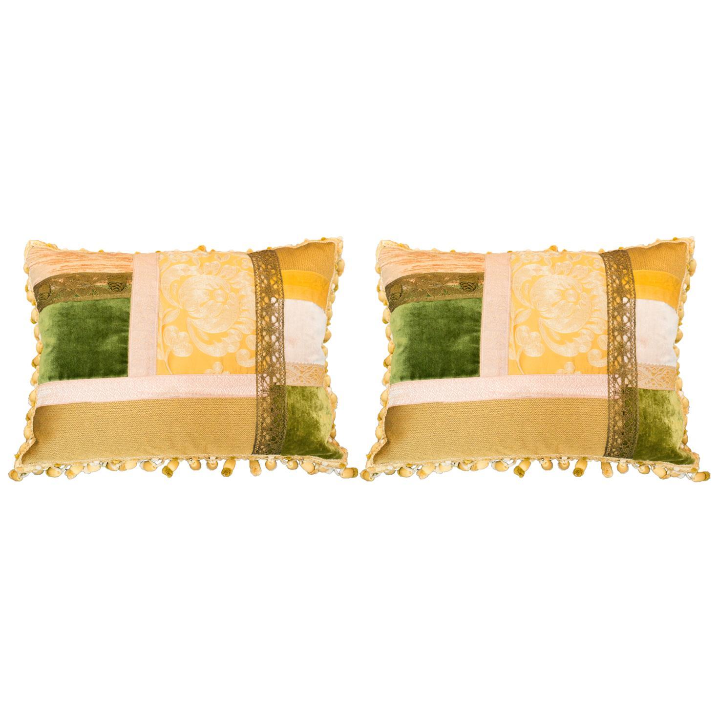 Pair of Studio Maison Nurita Patchwork Silk and Cut Pile Velvet Pillows