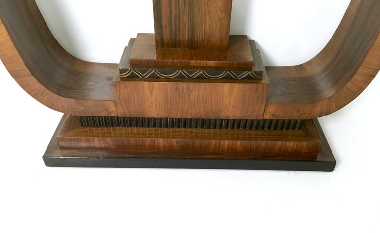 Pair of Stunning and Unique Art Deco Walnut Console Tables, Italy, 1940s For Sale 4