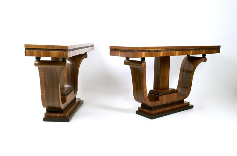 Ebonized Pair of Stunning and Unique Art Deco Walnut Console Tables, Italy, 1940s For Sale